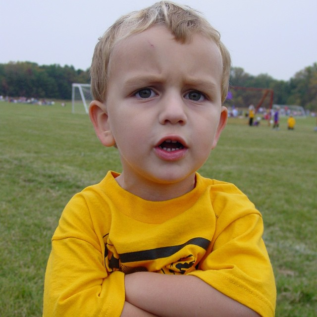 #throwbackthursday 3 year old Blake complaining that his teammates wouldn't share the ball in soccer. ⚽️ That was his only year playing that sport. Now it's football and he gets the ball and runs with it Fast! Guess that means he doesn't like to share even today ?