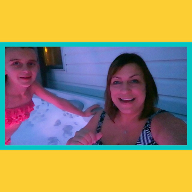 Finally warm enough to at least get in the hot tub! LOL check out today's video!