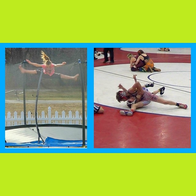 Kids enjoying the warm weather and Some of Chase's matches from state championships! He took 3rd!