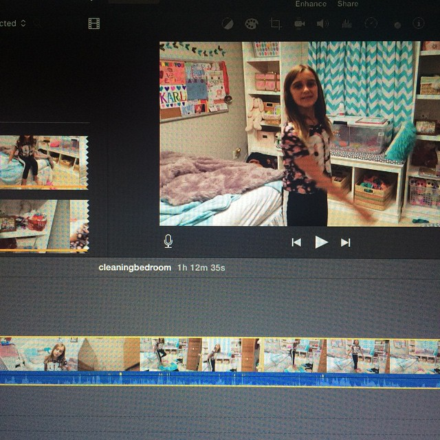 When your daughter takes the camera to her bedroom and records 1 hour & 12 minutes of video that you have to edit into a much shorter video. ?