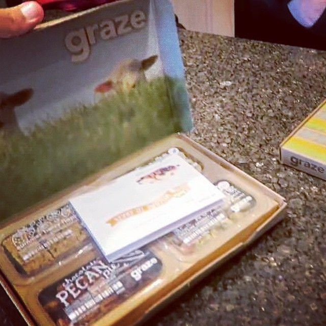 We loved our box of healthy snacks! You can try out Graze for free, yes an entire box FOR FREEE! All the details in yesterday's video or go to Graze.com and use our code SPRING101 to get your first box for ZERO DOLLARS!! #graze #healthysnacks #yummyinmytummy