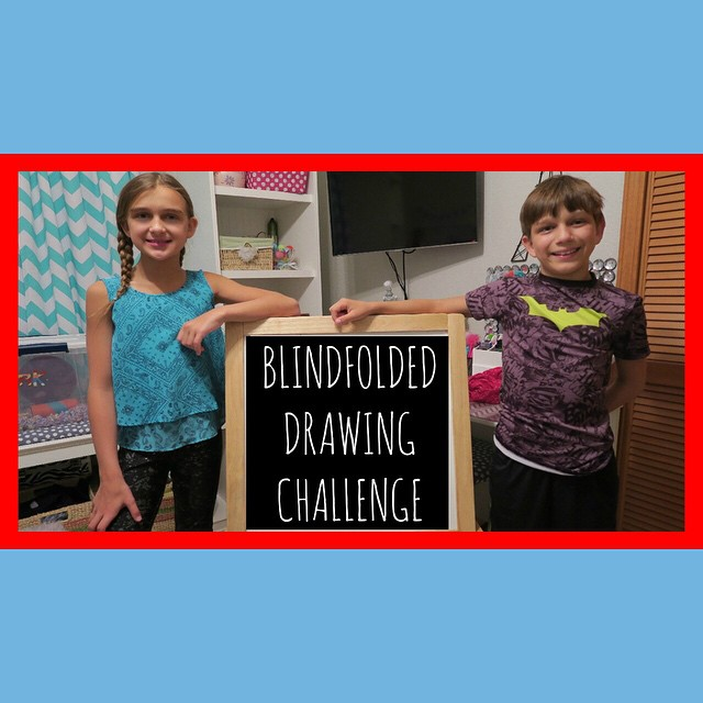 The kiddos did the Blindfolded Drawing Challenge ???